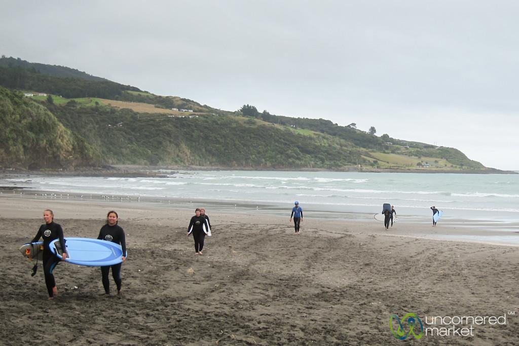 Surfing in Raglan, New Zealand