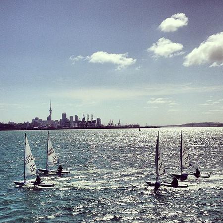 One-man sails, Okahu Bay, #Auckland skyline #gadv #dna2nz