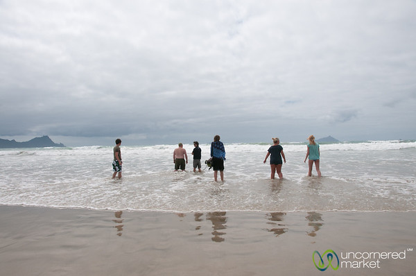 Group Playing in the Water - Uretiti Beach, New Zealand