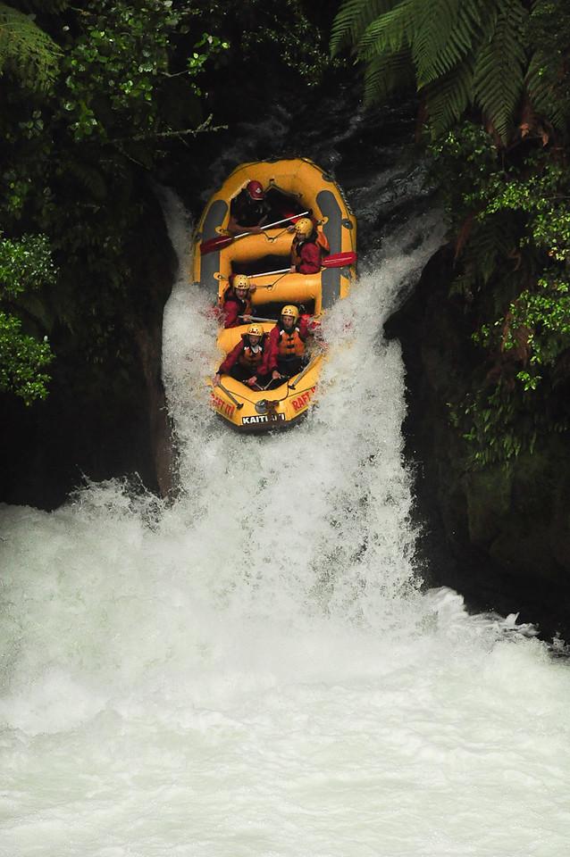 White Water Rafting Down 7 meter Waterfall - Kaituna, New Zealand