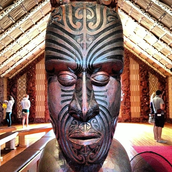 Carved head, Maori meeting house -- Waitangi Treaty Grounds