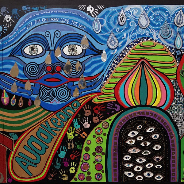 """Let the Children Lead the Way"" -- Hundertwasser-inspired mural project Kawakawa, New Zealand"