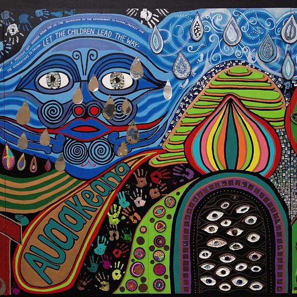 """Let the Children Lead the Way"" -- Hundertwasser-inspired mural project Kawakawa, New Zealand"