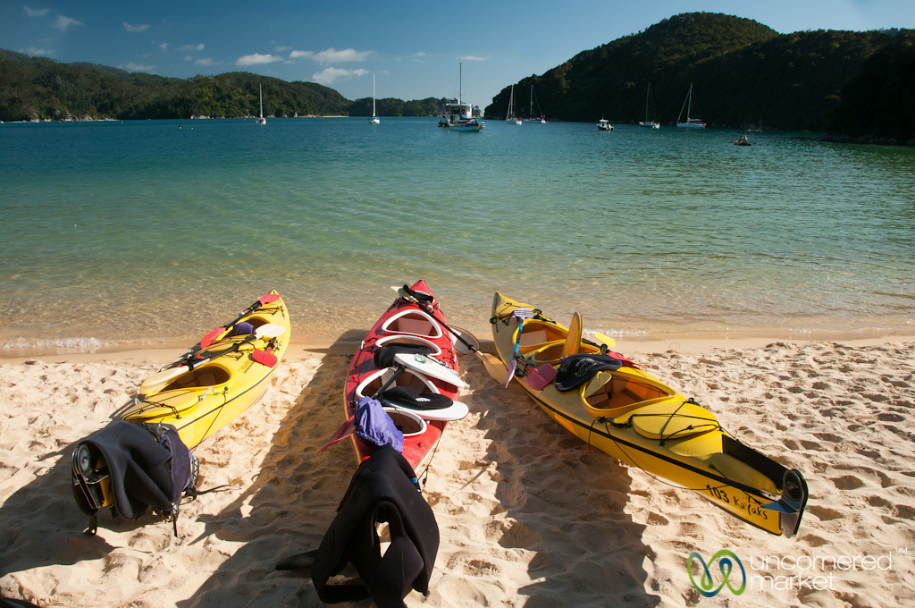 Kayaks at Abel Tasman National Park - New Zealand