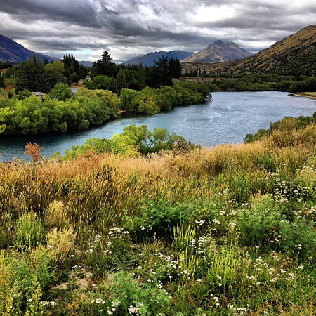 A view from my mountain bike, down the valley to Queenstown #newzealand