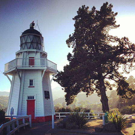 Akaroa lighthouse by morning light -- one of the benefits of an early rise and morning walk #newzealand