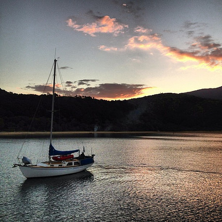 A night on the boat, peaceful cove, sky stitched with stars -- Anchorage, Abel Tasman