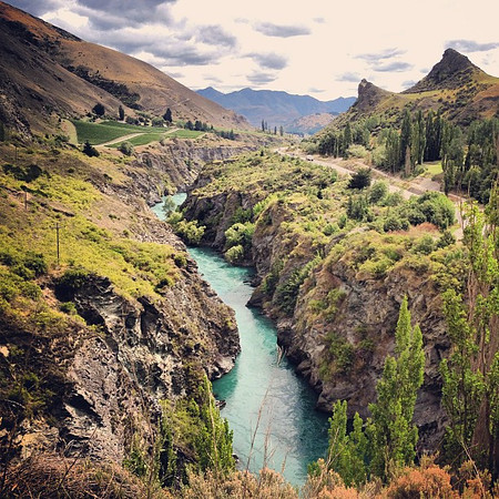 Even wine-tasting in New Zealand is extreme. This is the gorge-road we had to drive to get to Chard Farm vineyards.