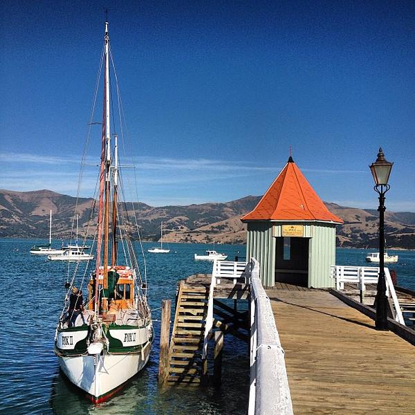 Akaroa Harbor, oh the possibilities of a sail. #newzealand