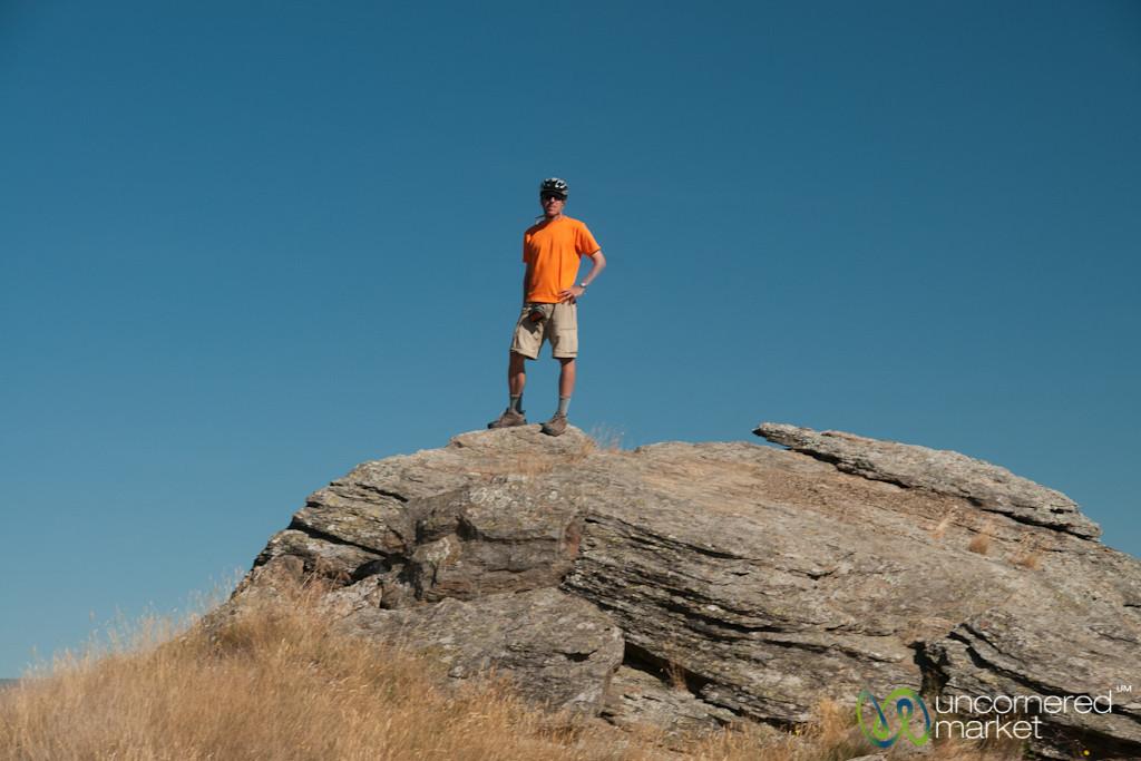 Dan on Central Otago Biking Trail - South Island, New Zealand