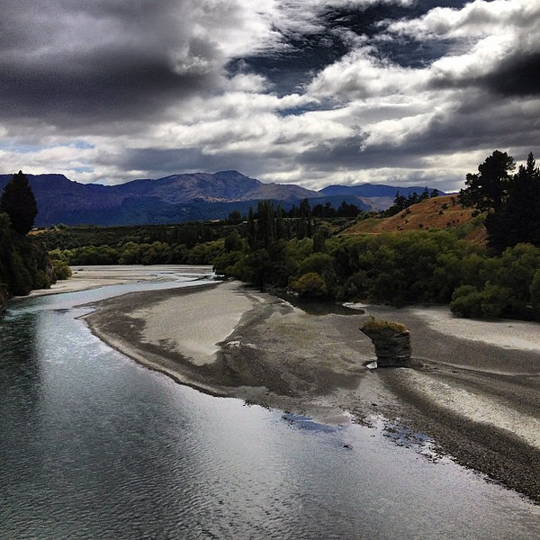 Roiling sky, a view from Lower Shotover Bridge, Frankton-Queenstown, #newzealand