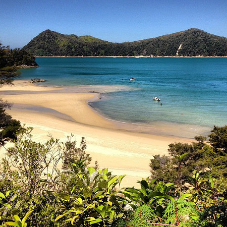 Aerial view of today's lunch spot, Stillwell Beach. Taken along the Abel Tasman Coast Track #newzealand