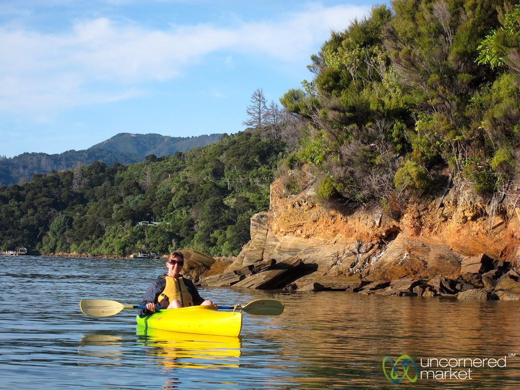Audrey Kayaking on Queen Charlotte Sound - Lochmara Lodge, New Zealand