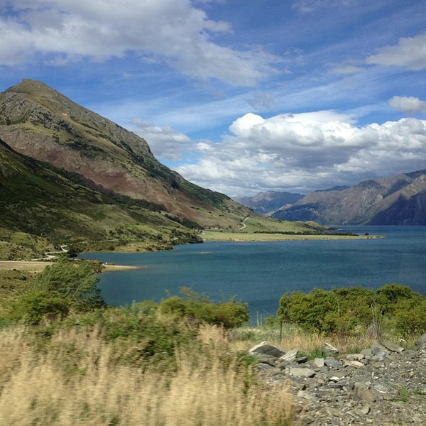 Stunning, layered Lake Hawea -- a lucky snap from the bus window. Today's New Zealand #nofilter special.