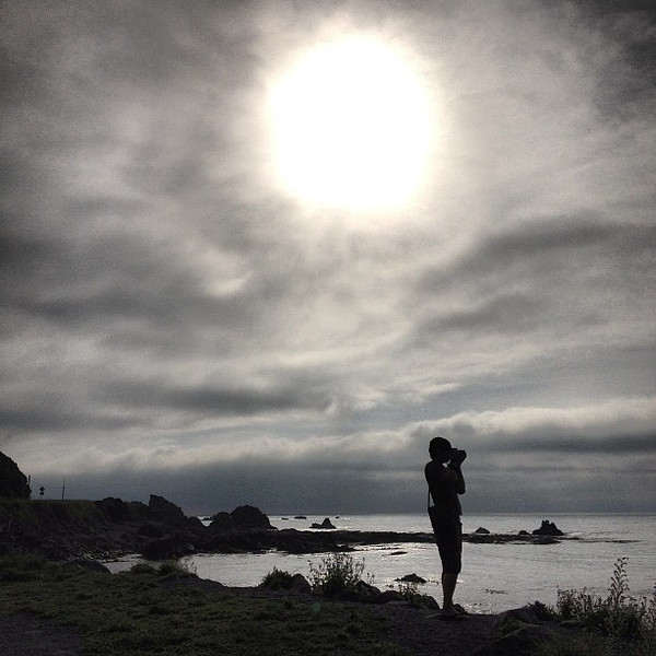 Photographing, on the lookout for seal pups, early morning at Ohau Point, east coast South Island #newzealand