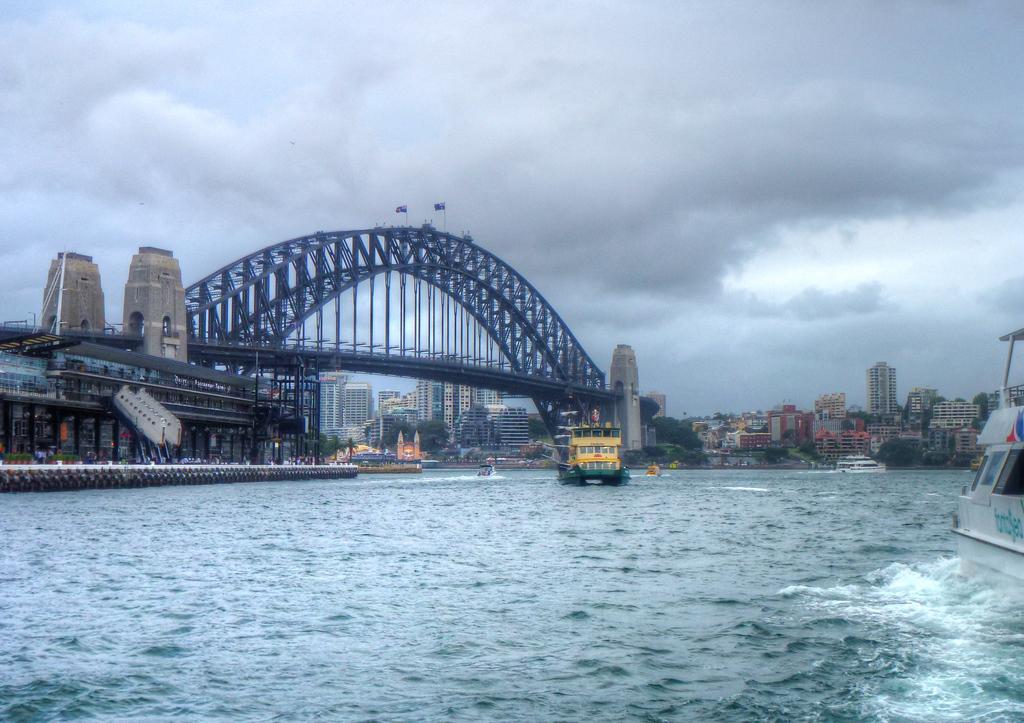 sydney harbour bridge clouds