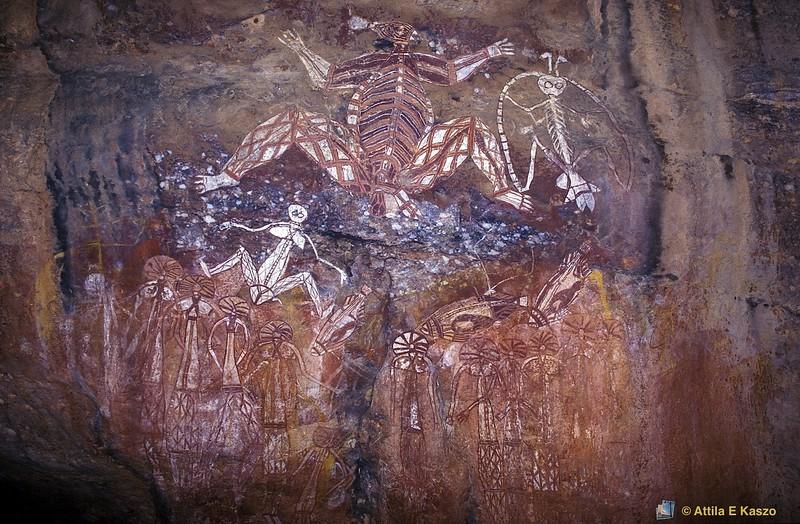 Aboriginal Rock Art - Lightning Man (Namarrgon)<br /> Anbangbang, Nourlangie, Kakadu NP, NT