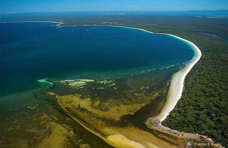 Aerial - Hare Bay ( Posidonia Seagrass Meadows) / Callala Bay<br /> Jervis Bay, Shoalhaven, NSW