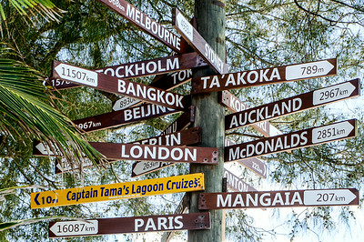 The mileage sign at Muri Lagoon...