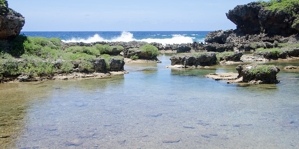 These ancient natural pools are a great swim spot...