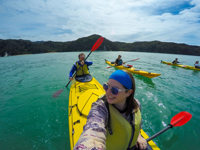 Tandem kayaking in Abel Tasman National Park