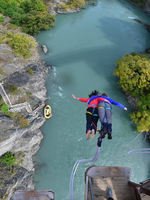 Tandem bungee jumping at the Kawarau Bridge
