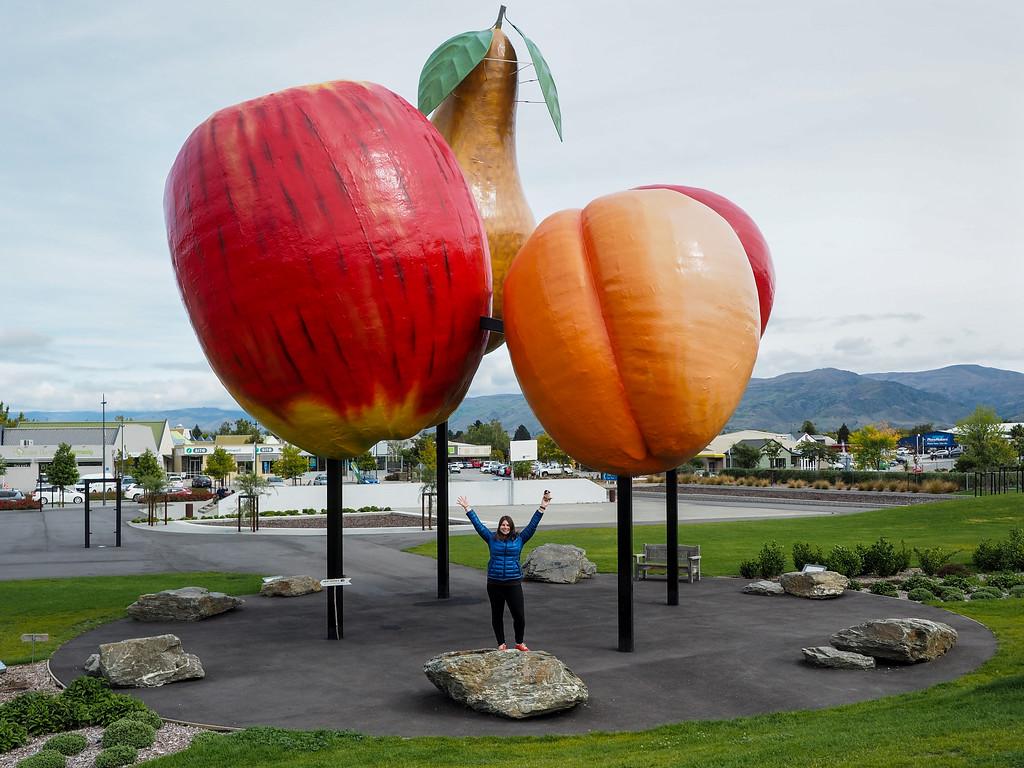 Giant fruit in Cromwell, New Zealand