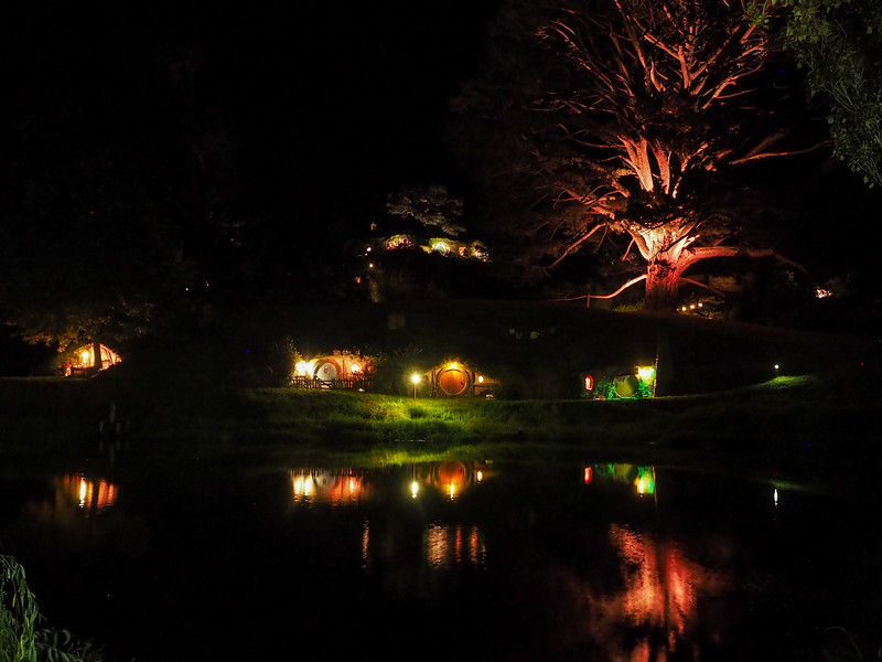 Hobbiton movie set at night
