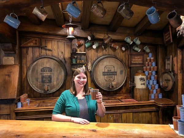 Amanda behind the Green Dragon bar