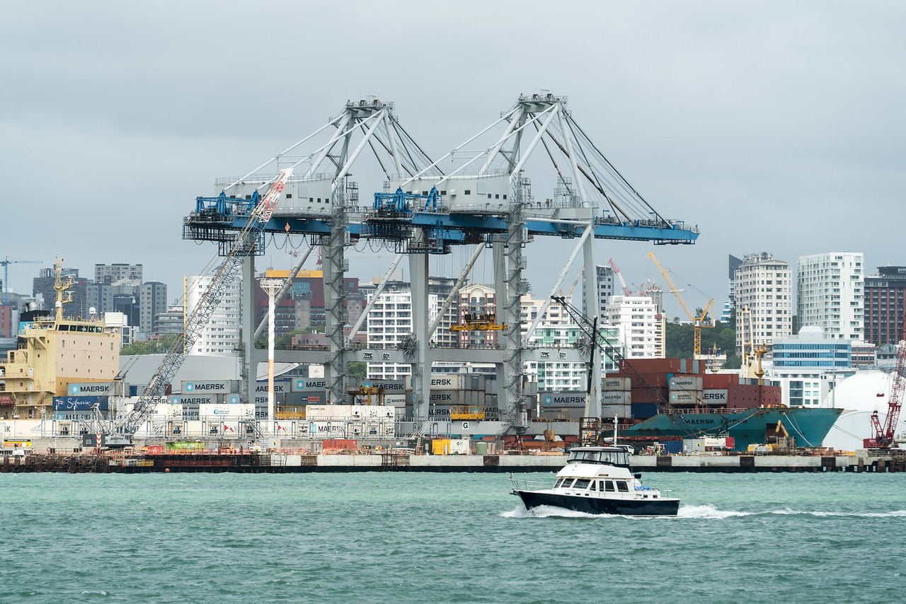 Cranes at Auckland's Container port.