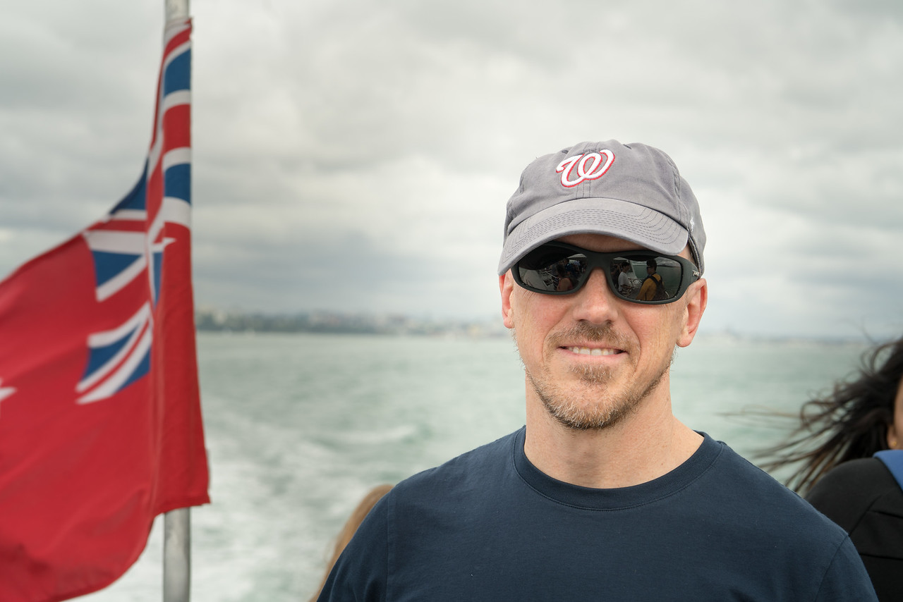 Scott on the ferry to Waiheke Island.