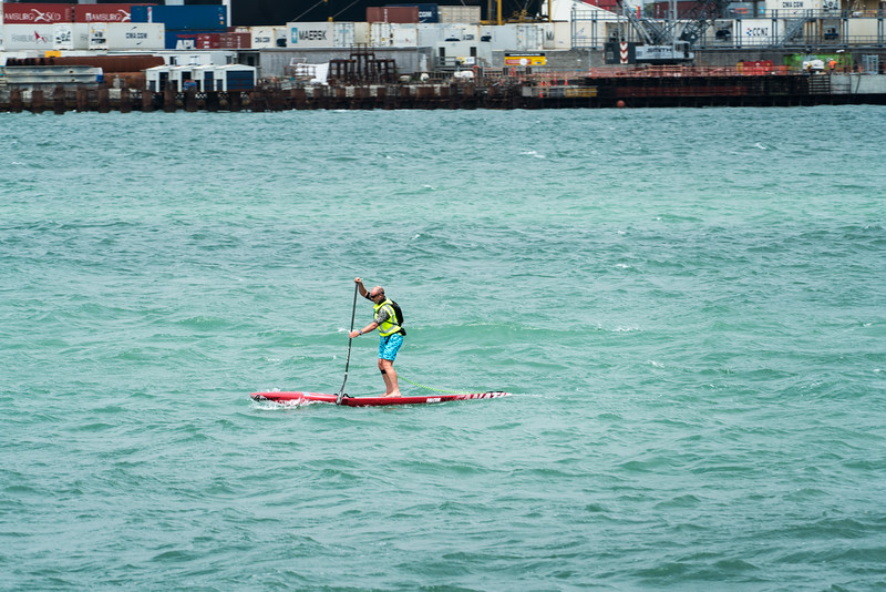 Ths guy was out in the middle of Auckland Harbour with ferries and container ships! Nuts!