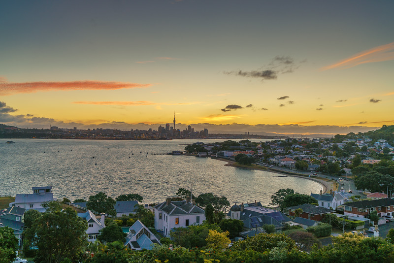 Auckland as seen from North Head at twilight.
