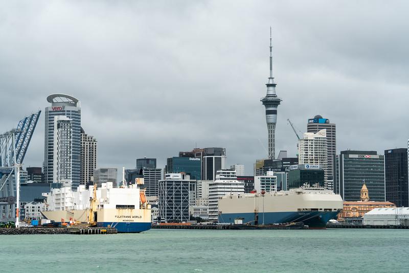 Vehicles carriers in Waitematā Harbour, Auckland.