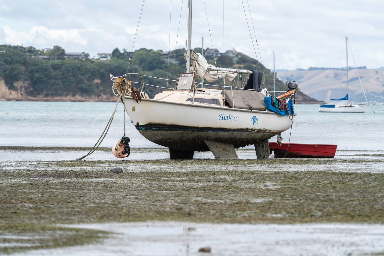 Boats high and dry at low tide in Huruhi Bay.
