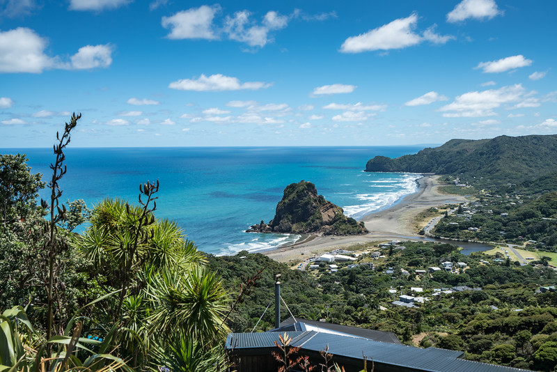 Overlooking Piha Beach and Lion Rock.