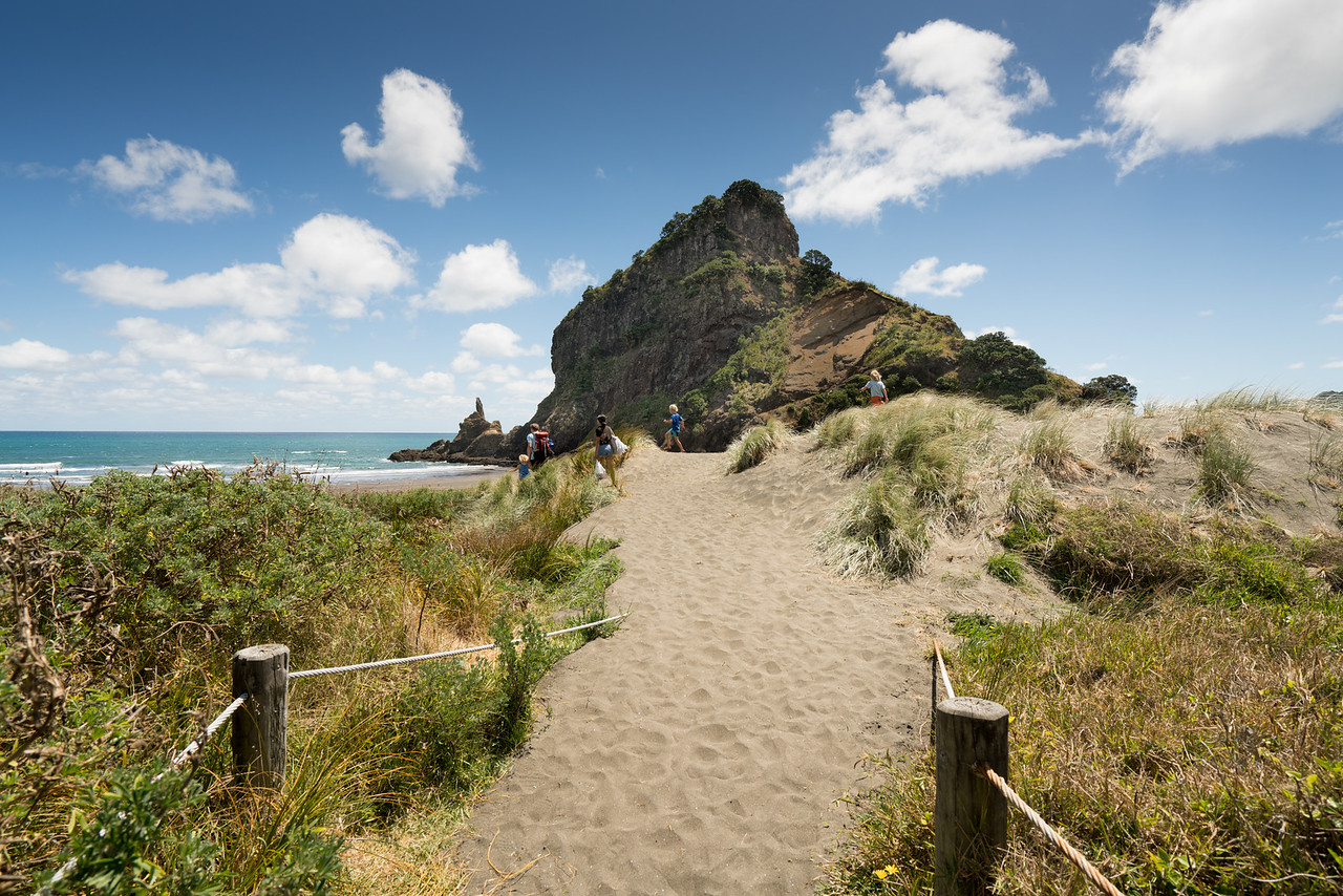 Path to beach and Lion Rock.