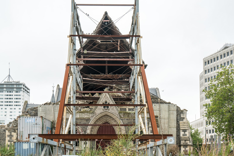 Attempts to stabilze what remains of ChristChurch Cathedral.