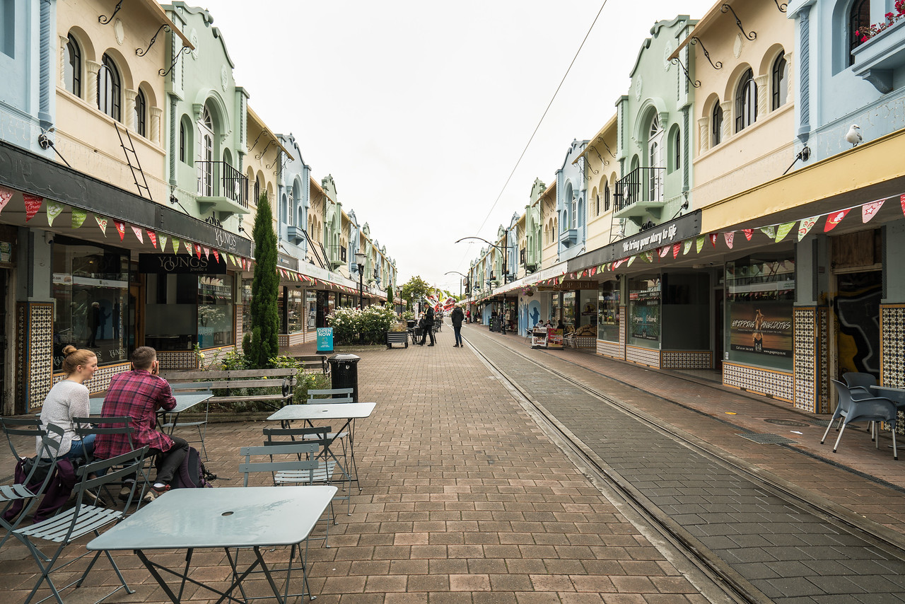 This strip of old shops on New Regent Street in Christchurch survived the earthquake in good condition.