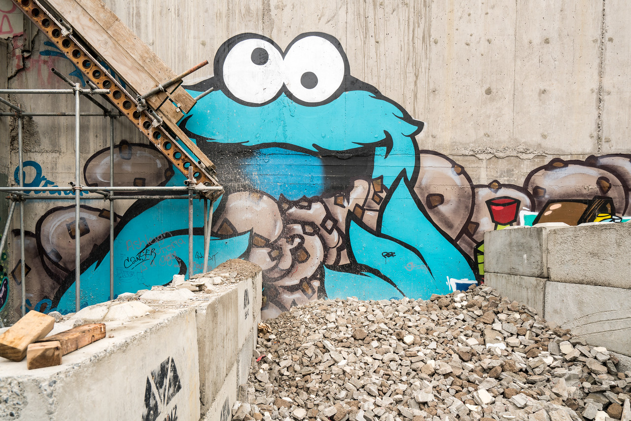 Cookie Monster likes rubble!