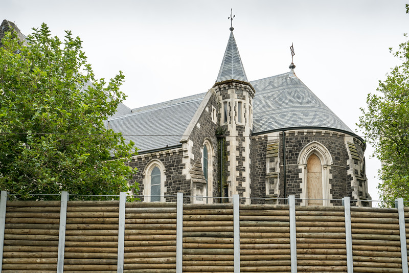 This sturdy wall protects passersby from possible future collapse of ChristChurch Cathedral.