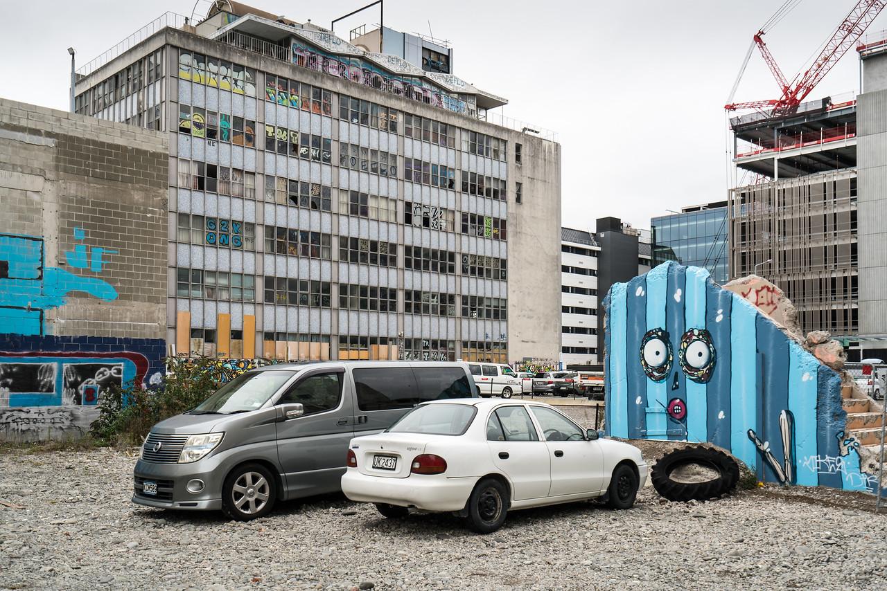 Some buildings in downtownn Christchurch still await demolition or restoration.