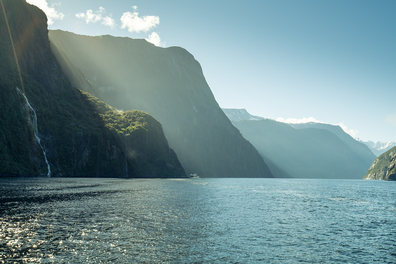 The light is just starting to fill up Milford Sound.