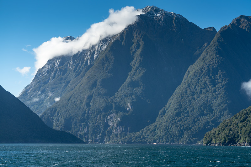 Looking up Milford Sound from the Tasman Sea.