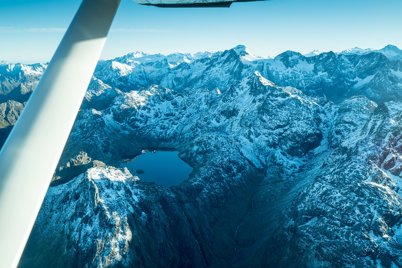 A mountain lake on the way to Milford Sound.