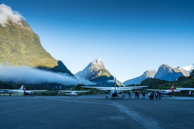 Sightseeing planes on the ramp at Milford Sound Airport.
