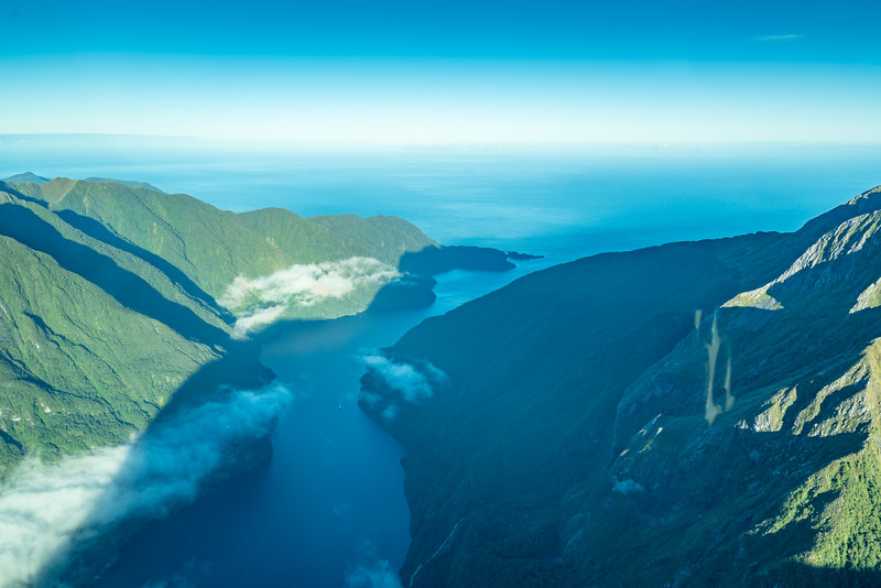 Looking towards the Tasman Sea from over Milford Sound.