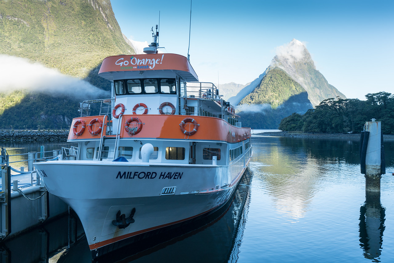 Our boat, ready for the tour of Milford Sound.