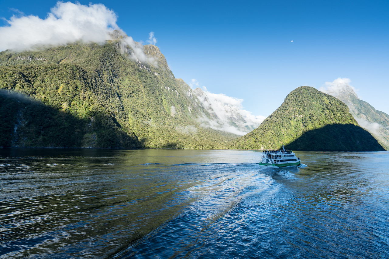 Another tour boat cruising on Milford Sound.