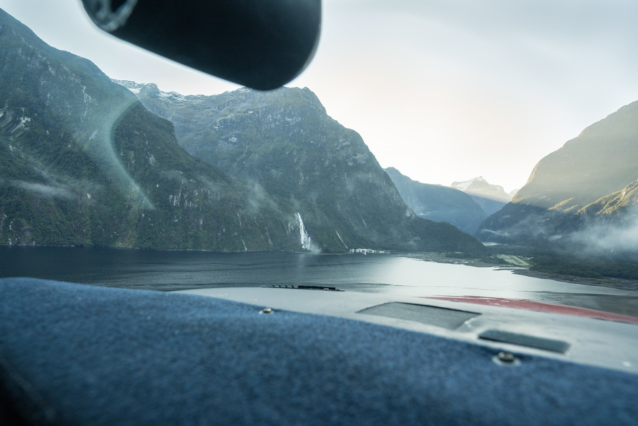 On short final for Milford Sound Airport.